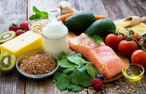 Arrangement of healthy foods
